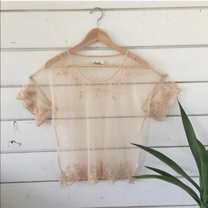 Tan lace and mesh top
